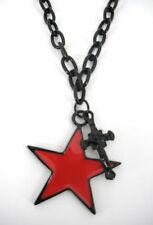 Fashion Necklace Black  Chain with Cross & Star NEW