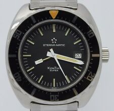 VINTAGE 1970s Eternamatic Kontiki Super Mens 40mm Steel Divers Watch 633.1018.41