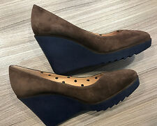 """Paul Smith Wedges Shoes UK4 EU37 """"PAUL X"""" Womens Brown Suede Leather Wedges"""