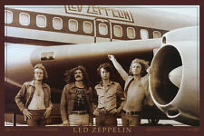 "Led Zeppelin Group Music Poster 24x36"" Aeroplane  Standing outside of airplane"