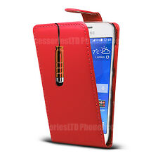 For Samsung Galaxy Phone Models - Leather Case Flip Cover Pouch + Mini Stylus