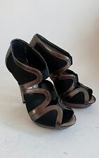 Topshop Womens Gold Leather Heels Black Mesh Sides Sandals Shoes Size 37 UK 4