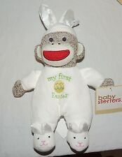 NEW Baby My First Easter Sock Monkey Toy Rattle Plush Bunny Slippers
