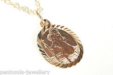 9ct Gold Oval St Christopher Pendant and Chain Gift boxed Made in UK
