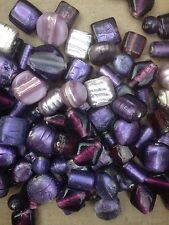 7-13mm assorted purple foiled lampwork glass beads - 250g pack (140 beads)