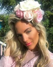 Huge Big Pink Ivory Rose Flower Hair Head Alice Band Choochie Choo Boho Bridal