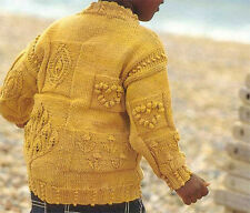 Lovely Childs Hearts  flowers-Aran Style sweater- Knitting pattern-fits 18-36 m