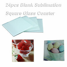 24pcs(6packages) Blank Square Glass Coaster Coffee Cup Mat Sublimation Press