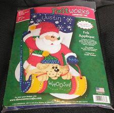 Dimensions Felt Works Applique Stocking Kit Sledding Santa 8133 Christmas NEW