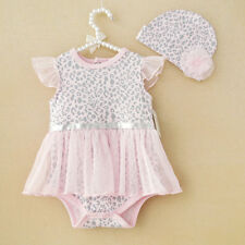 Baby Girl Clothes Newborn Leopard Cap Hat+Romper Bodysuit Party Dress Tutu 6-9M
