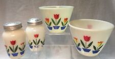 Vintage Fire King Tulips Set of 2 Bowls & Salt / Pepper Shakers