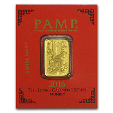 1 gram Gold Bar - PAMP Suisse Lunar Monkey Multigram+8 (In Assay) - SKU #96834
