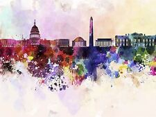 Peinture abstraite cityscape Washington USA peinture splash Skyline Poster bmp10675