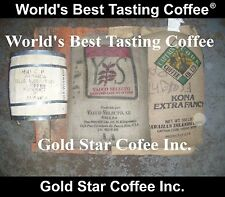 6 lb GREEN Coffee Bean Combo, Jamaica Blue Mountain, Hawaii Kona, Yauco Selecto