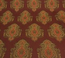 "P KAUFMANN BENTLEY RUST RED DAMASK MEDALLION DRAPERY FABRIC BY THE YARD 54""W"
