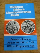 04/08/1971 Speedway Programme: At Coventry - Midland Riders Championship Final (