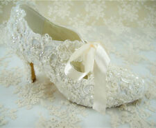 Wedding Handmade Ivory Lace Bridal Shoes Mary Janes Lace Wedding Shoes UK3-8