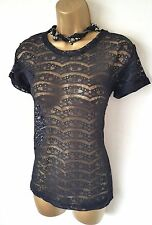 GOTHIC Black Sheer Lace Blouse Top 14 Punk Lolita NWOT VIntage Steampunk