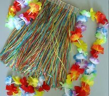 Hawaiian Dance Costume  Kid's Hula Skirt & Lei set Rainbow colours