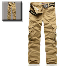 Pop Casual Loose Military Mens Plain Pants Army Cargo Camo Combat Work Trousers
