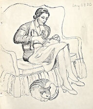 Dorothy Eaton Drawing (XV) Woman With Cat