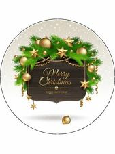 "Christmas Wreath 7.5"" Round Pre Cut Edible Icing Cake Topper"