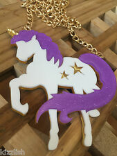 Unicorn Acrylic Glitter Sparkle Kawaii Statement Gold Chain Necklace
