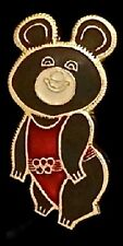 Olympic Pin Badge~Moscow~1980~Russian~Misha~Bear~gold tone outline~red suit