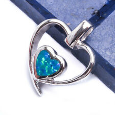 CUTE BLUE FIRE OPAL HEART .925 Sterling Silver Pendant .75""