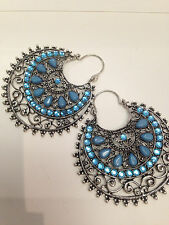 NEW LARGE TURQUOISE BLUE /CRYSTAL EXTRA LARGE HOOP CHANDELIER EARRINGS PARTY