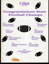 2000 Texas Coach Magazine January State Football Champs 19332