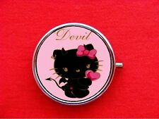 HELLO DEVIL KITTY CAT 4 ROUND METAL PILL MINT BOX CASE