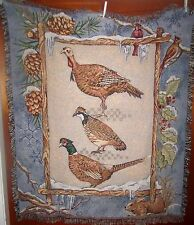Winter Fowl - Turkey Pheasant Quail Woven Cotton Tapestry Afghan Throw
