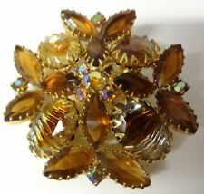Vintage 60's Juliana AB Amber Rhinestone Maltese Cross Pin Brooch Very Rare