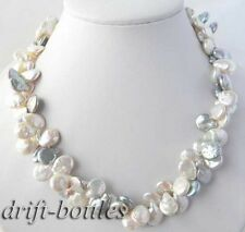 2strands 18''11mm white gray coin freshwater pearl necklace