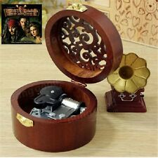 CIRCLE WOOD SILVER WIND UP MUSIC BOX : Pirates of the Caribbean Davy Jones