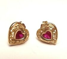 10K SOLID YELLOW GOLD STUD RUBY DIAMOND CUT HEART BEAUTIFUL EARRINGS PIERCED