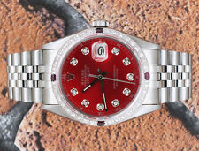 Steel & White Gold RED Diamond Dial, with Diamond and Ruby Bezel Rolex Datejust