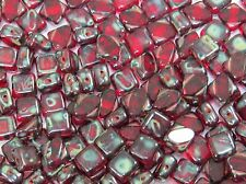 Garnet Picasso Diagonal Two-Hole Silky Beads 6 mm  (30)