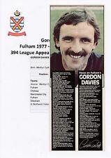 GORDON DAVIES FULHAM 1977-1991 ORIGINAL HAND SIGNED MAGAZINE CUTTING