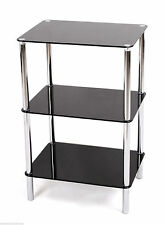 3TIER GLASS SHELF UNIT BLACK GLASS CHROME FRAME SIDE/END TABLE HOME DISPLAY