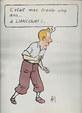 RARE DESSIN ANONYME D'ANNIVERSAIRE COULEURS EN SÉRIGRAPHIE PARODIE DE TINTIN