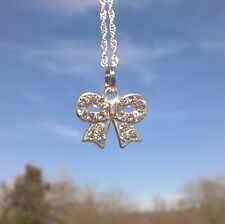 "Silver Sparkling Gemstone Bow Charm Necklace on a White Gold Filled 30"" Chain"