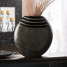 BLACK WOODEN TRIBAL DECORATIVE VASE WITH CARVED STRIPES DECOR~10016778