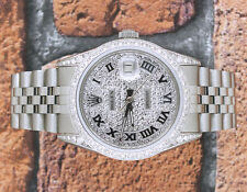 Gents Pave Diamond Dial, Bezel & Shoulders Rolex Oyster Perpetual Datejust.