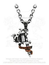Alchemy Tattoo Gun Pendant/Necklace ULP9, jewellery/inked/chain/machine/gothic