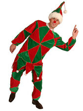 """MENS JESTER ELF HARLEQUIN CHRISTMAS CLOWN XMAS FUN COSTUME ONE SIZE TO 44"""" NEW"""
