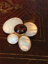 PHILIPPE FERRANDIS PARIS BROCH NACRE PATE VERRE MOTHER OF PEARL MODERNE DESIGN