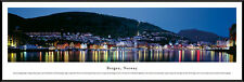 Bergen, Norway City Night Skyline Framed Panorama Poster Picture