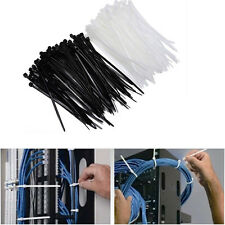 100x Nylon Plastic Zip Trim Wrap Cable Loop Ties Cord Wire Self Lock Black/White